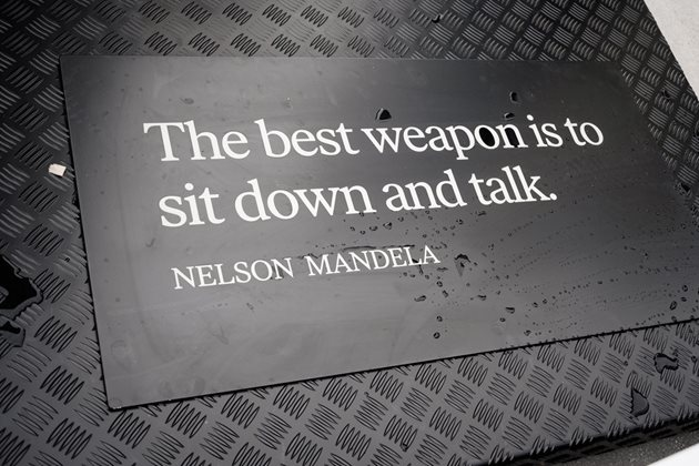 Engraved on the bench is Mandela's quote;