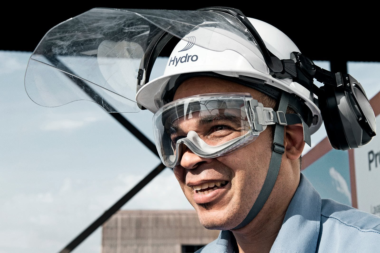 Man in safety helmet with Hydro logo