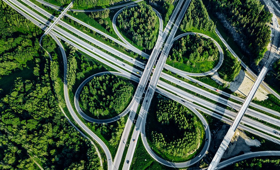 highway cloverleaf with trees