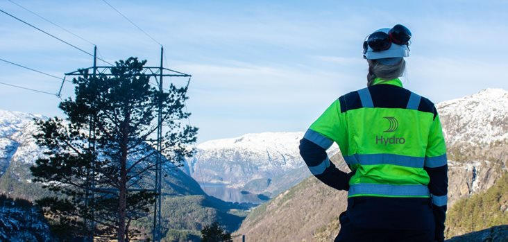 Worker in Hydro gear, looking out over mountainous winter landscape