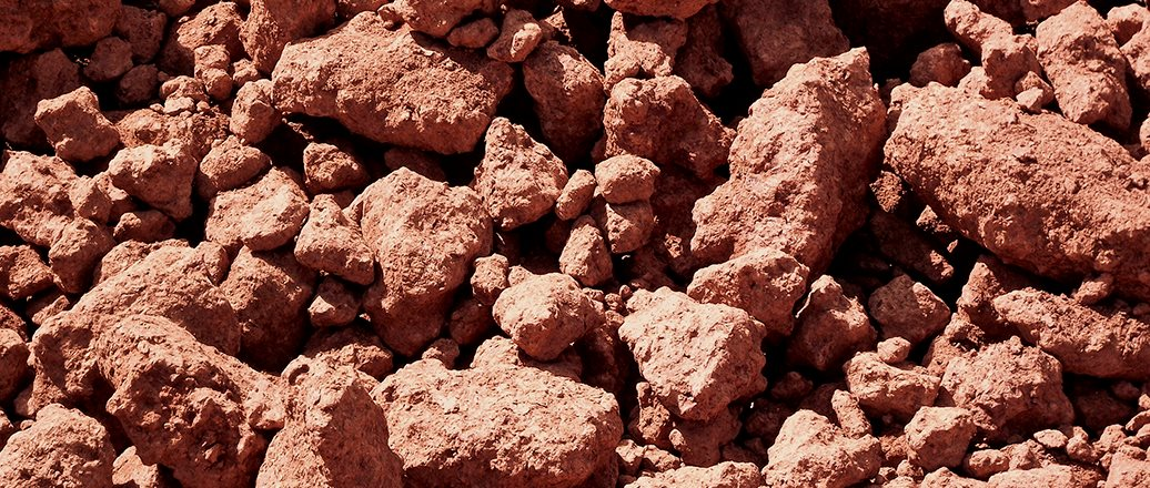 red bauxite pebbles