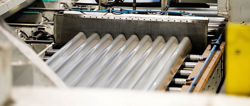 Extruded profiles on the extrusion press at Hydro Extrusions Benelux
