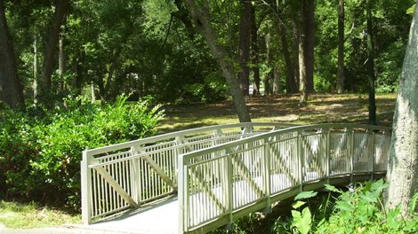 small pedestrian bridge over a stream in a park
