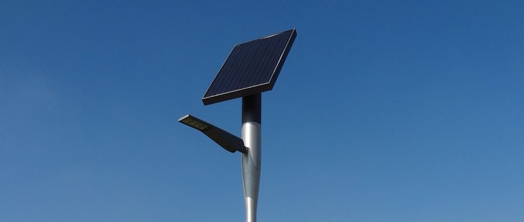 pole with solar panel on top