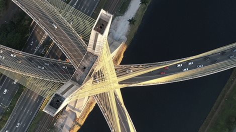 aerial view of estaiada bridge in sao paulo, brazil