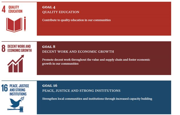 Goal 4; quality education. Goal 8; decent work and ecomomic growth. Goal 16; peace, justice and strong institutions.