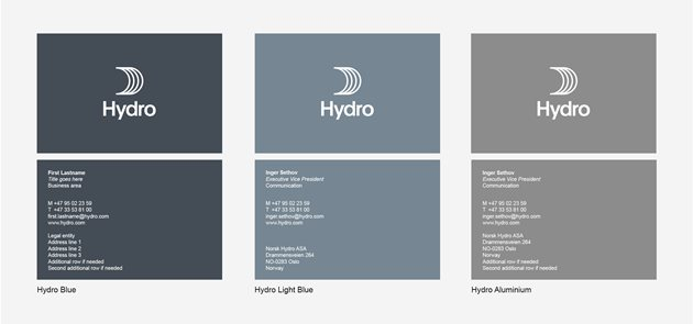 Front of business card with standard information. Back with Hydro logo and sail, no tagline. White on Hydro blue, light blue and aluminium