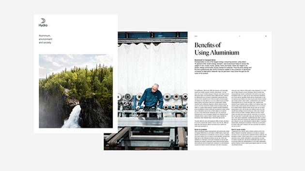 front page and content of a folder. Large nature photo and a man in a workshop