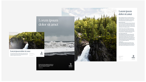 examples of three different adverts. All featuring prominent image of nature