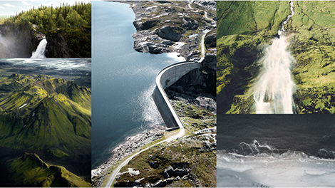 collage of a lake, mountains, a hydro damn, waterfall and waves