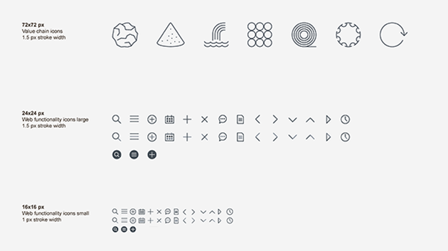 a series of simple, flat line art style icons, representing aluminium foil, bauxite, waterfall, metal rods, rolled metal, extruded metal, recycling, as well as magnifying glass, calendar and other navigation icons.