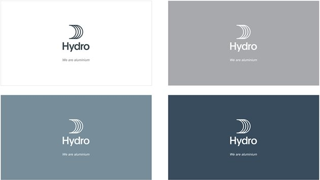 Four solid backgrounds with Hydro sail logo with tagline We are aluminium