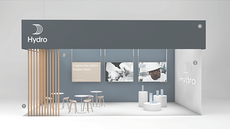 exibition booth with dark blue canopy, hydro logo in white placed left, wooden fixtures, aluminium and white walls, large logo in metal, scandinavian style furnishings