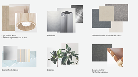 light nordic wood, aluminium, textile floor tiles, clear or frosted glass, greenery, leather furniture