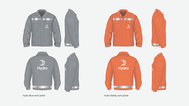 grey and orange work jackets with hydro logo on left chest pocket