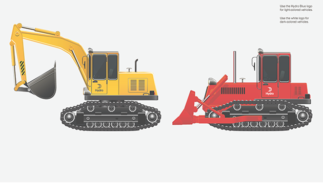 different excavation vehicles. Yellow backhoe with black logo on door, red bulldozer with white logo on door.