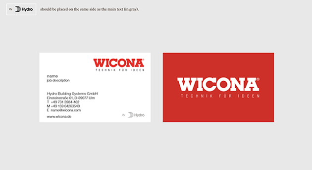 Two sided business card for an employee at WICONA. Black information text on white background, with read wicona logo top right. Reverse side large white WICONA and tagline on red background.