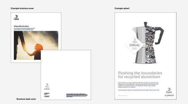 Samples of brochures and adverts with the logo with Hydro Sail and text Hydro Aluminium