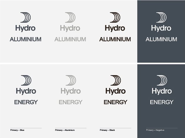 Various colour variations of the logos with Hydro sail, and text Hydro Aluminium and Hydro Energy