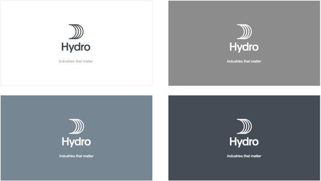 Four solid backgrounds with Hydro sail logo with tagline industries that matter