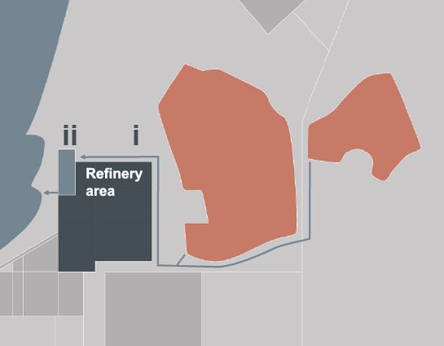 Illustrated map of Alunorte alumina refinery