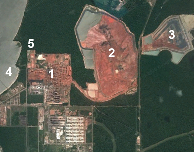 Satellite imagery of Alunorte refinery.