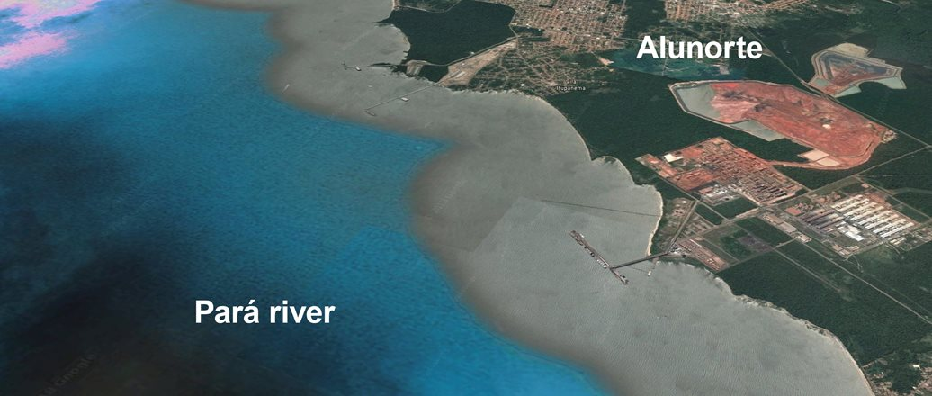 aerial image of the Alunorte site and the para river