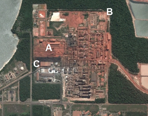 Satellite view Alunorte refinery