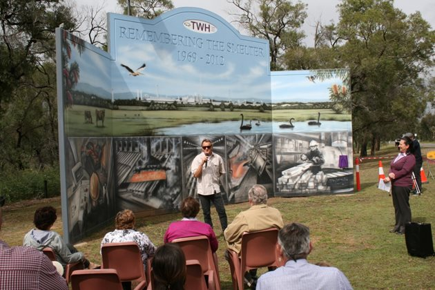 Mural artist Daniel Joyce discusses his artwork at the mural opening in October 2018.