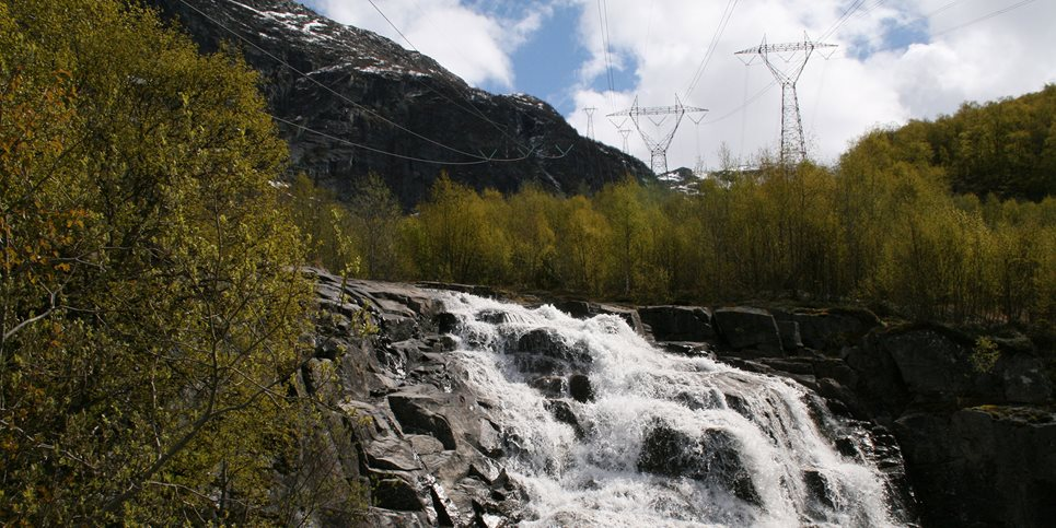 Power lines and water fall