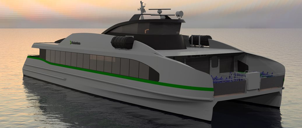Illustration of aluminium electric ferry