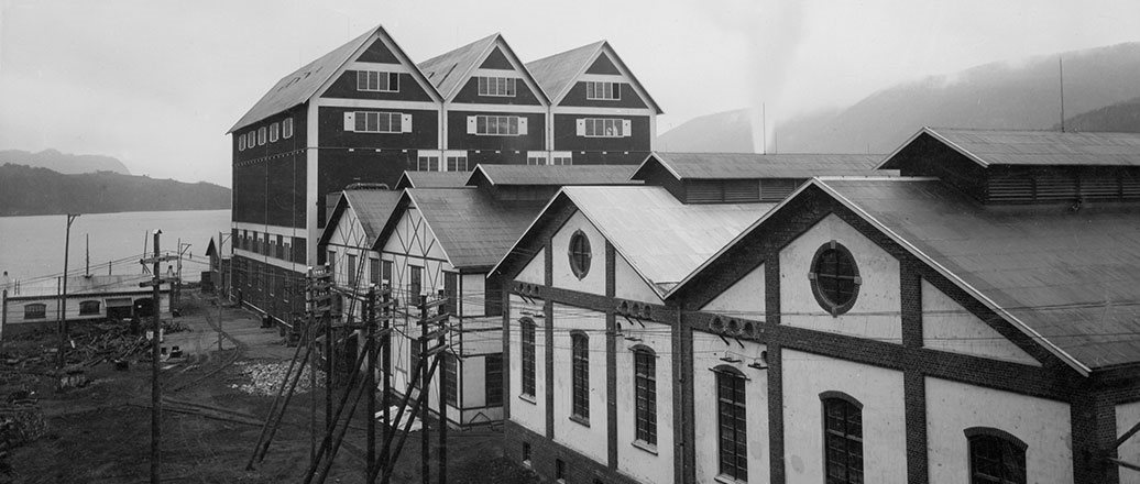 Several of the factory buildings at Notodden 1907