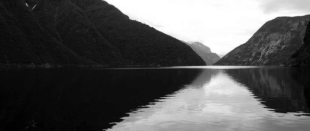 a black and white fjord