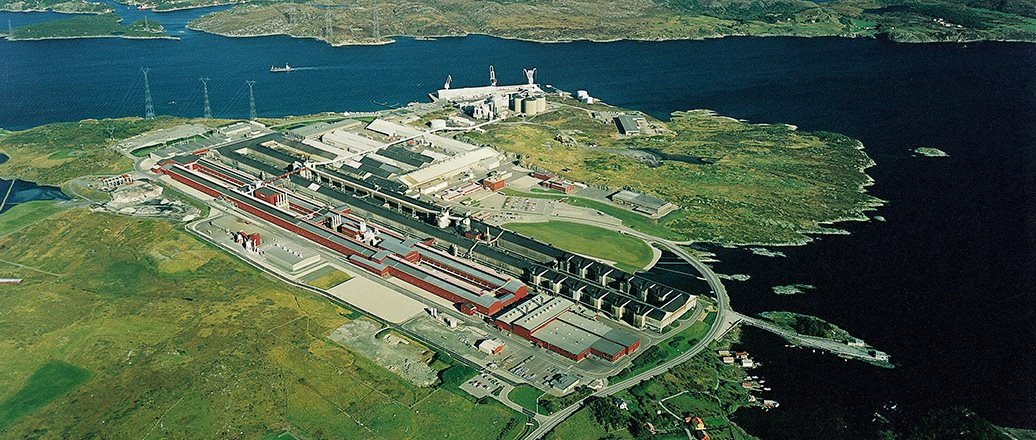 aerial photo of Karmøy plant