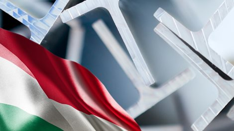 Hungarian flag and extrided profiles