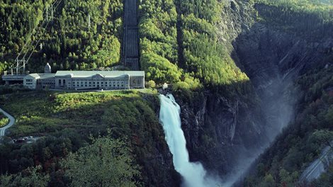 Vemork power station, pipes and waterfall
