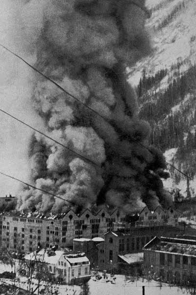Fire at the factory at Rjukan during World War 2.
