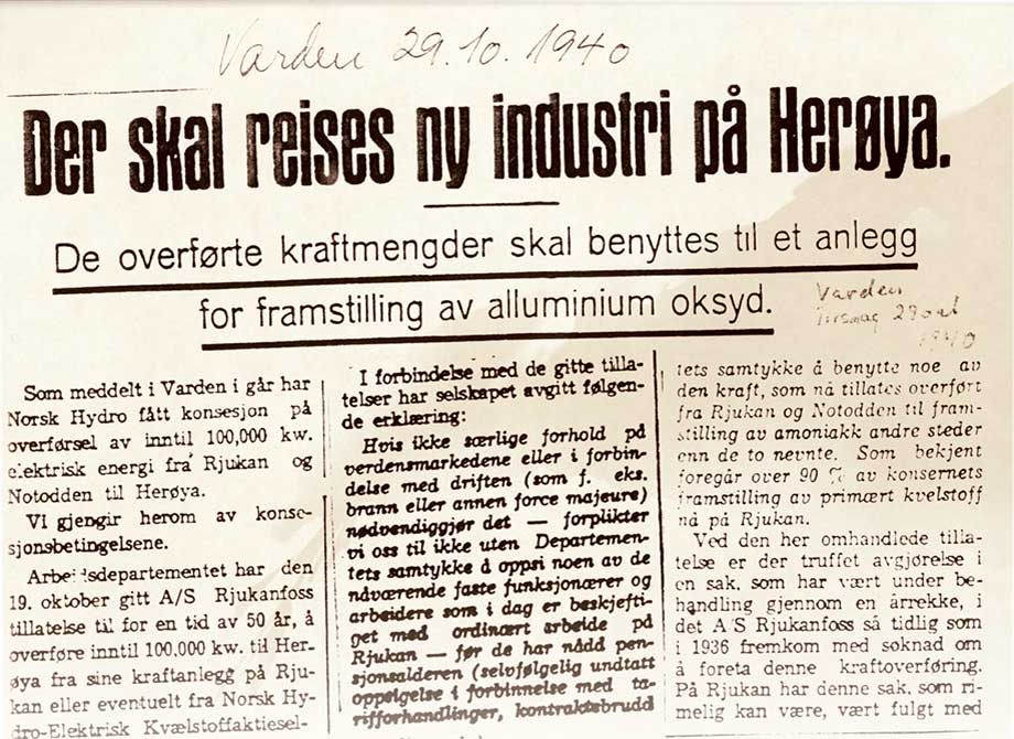 Newspaper headline: New industry is to be built on Herøya