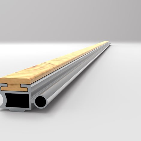 Long narrow aluminium profile interlocked with wooden board