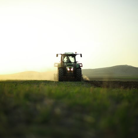 A harvester in a field at sunset