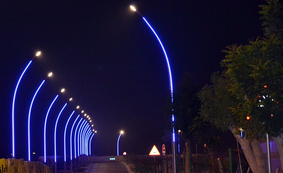 road lights with illuminated poles